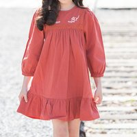 Casual Embroidered Long-sleeve Dress