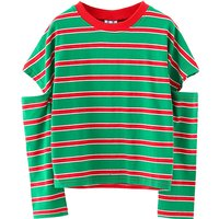 Fashionable Striped Design Hollow Out Tee for Kid
