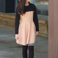 Sassy Color Blocked Long-sleeve Belted Dress