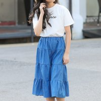 Fashionable Letter Print Short-sleeve Top and Denim Skirt Set