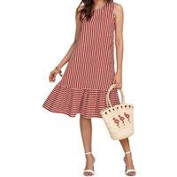 Retro Striped Sleeveless Ruffle Casual Dress