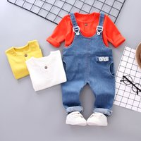 Long Sleeve Tee and Denim Overalls Set