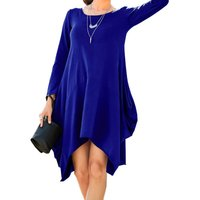 Solid Pockets Loose Casual Dress