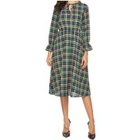 Plaid Lace-up Front Casual Dress