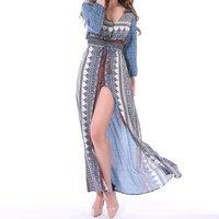 Stylish Printed Elastic Waist Maxi Dress