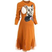 Cat Lace Hem Maternity Nursing Dress