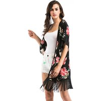 Women's Printed Kimono Beach Coverup Witch Fringe