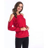 Women's Cold Shoulder Longsleeves  Blouse Top