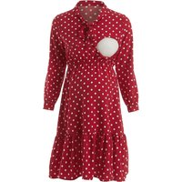 Polka Dot Elastic Waist Ruffle Maternity Nursing Dress