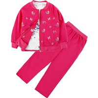 3-piece Butterfly Top, Zip-up Coat and Pants Set for Girls