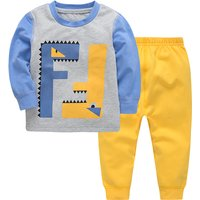 Unique Dinosaur Print Long-sleeve T-shirt and Pants Set for Baby Boy