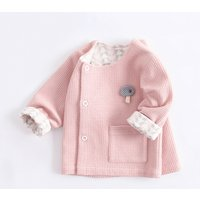 Baby Girl's Solid Round-collar Cardigan