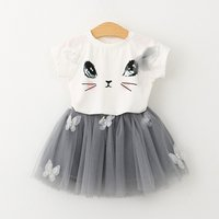 Sweet Cat Print Short-sleeve Tee and Tulle Skirt Set for Baby Girl