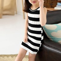 Girl's Casual Stripes Sleeveless Dress