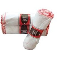 Stockinette Dish Cloths 305x305mm White With A Red [Pack 10] - DISH