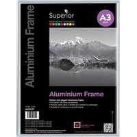 Photo Frame Clip In Aluminium with Clear Perspex Front A3 - ALA3-SV