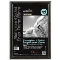 Snap Frame with Mounting Kit Aluminium Anti-glare PVC A4 - BLACKA4-BK