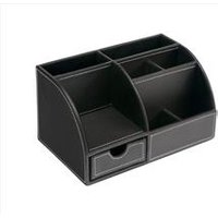 5 Star Elite Desk Organiser Faux Leather Brown