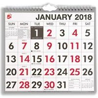 5 Star Office 2018 Wall Calendar Wire Bound Month to View - 939522