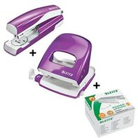 Leitz NeXXt WOW Hole Punch & Stapler Purple & Staples Pack 5000 Bundle