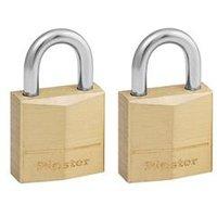 Master Lock Padlock Brass 20mm [Pack 2] - 120EURT By Euroffice