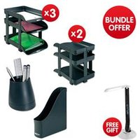 Office Stationary Bundle with Trays/Risers/Rack & Cup Bundle