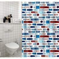 MSV douchegordijn Labels multikleur 180cm