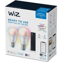 WiZ LED lamp gekleurd en wit 60W E27 2 stuks met afstandsbediening