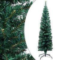 vidaXL Kunstkerstboom met standaard smal 150 cm PVC groen