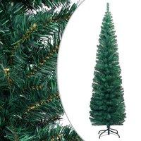 vidaXL Kunstkerstboom met standaard smal 240 cm PVC groen