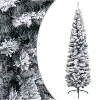 vidaXL Kunstkerstboom met sneeuwvlokken smal 180 cm PVC groen