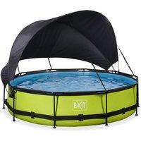EXIT Lime opzetzwembad met schaduwdoek en filterpomp groen ø360x76cm
