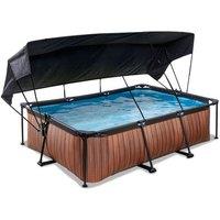 EXIT Wood opzetzwembad met schaduwdoek en filterpomp bruin 220x150x65cm