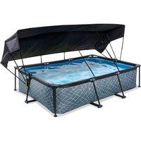 EXIT Stone opzetzwembad met schaduwdoek en filterpomp grijs 300x200x65cm