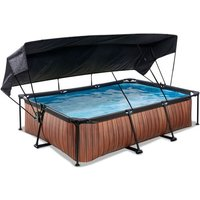EXIT Wood opzetzwembad met schaduwdoek en filterpomp bruin 300x200x65cm