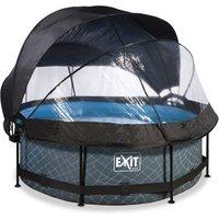 EXIT Stone opzetzwembad met overkapping, schaduwdoek en filterpomp grijs ø244x76cm