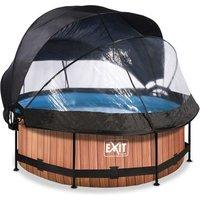 EXIT Wood opzetzwembad met overkapping, schaduwdoek en filterpomp bruin ø244x76cm