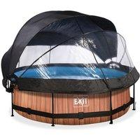 EXIT Wood opzetzwembad met overkapping, schaduwdoek en filterpomp bruin ø300x76cm
