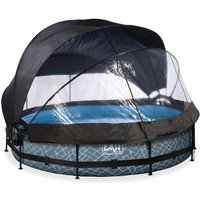 EXIT Stone opzetzwembad met overkapping, schaduwdoek en filterpomp grijs ø360x76cm