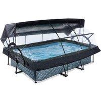 EXIT Stone opzetzwembad met overkapping, schaduwdoek en filterpomp grijs 220x150x65cm