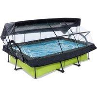 EXIT Lime opzetzwembad met overkapping, schaduwdoek en filterpomp groen 300x200x65cm