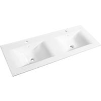 Wastafel Dubbel Allibert Soft 120,5x46,5x1,7 cm met Kraangat en Overloop Porselein Glanzend Wit