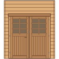 Solid carport voorwand S7732 dubbele deur 210x240cm
