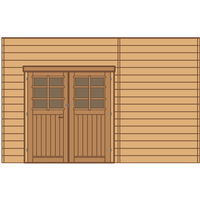 Solid carport voorwand S7739 dubbele deur 390x245cm