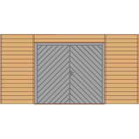 Solid carport voorwand S7749 dubbele garagedeur 480x245cm