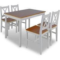 Houten eettafel met 4 stoelen (bruin)