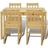 Houten eetkamertafel met vier stoelen (naturel)