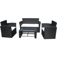 Wicker Loungeset Merano 4-delig (zwart)