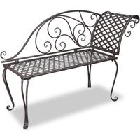 Bruine metalen lounge tuinbank met rozenmotief