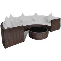 Rattan tuinset half rond met een bankstel en tafel loungeset (bruin)